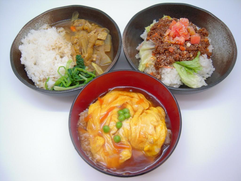 和風カレー、天津丼、タコライス