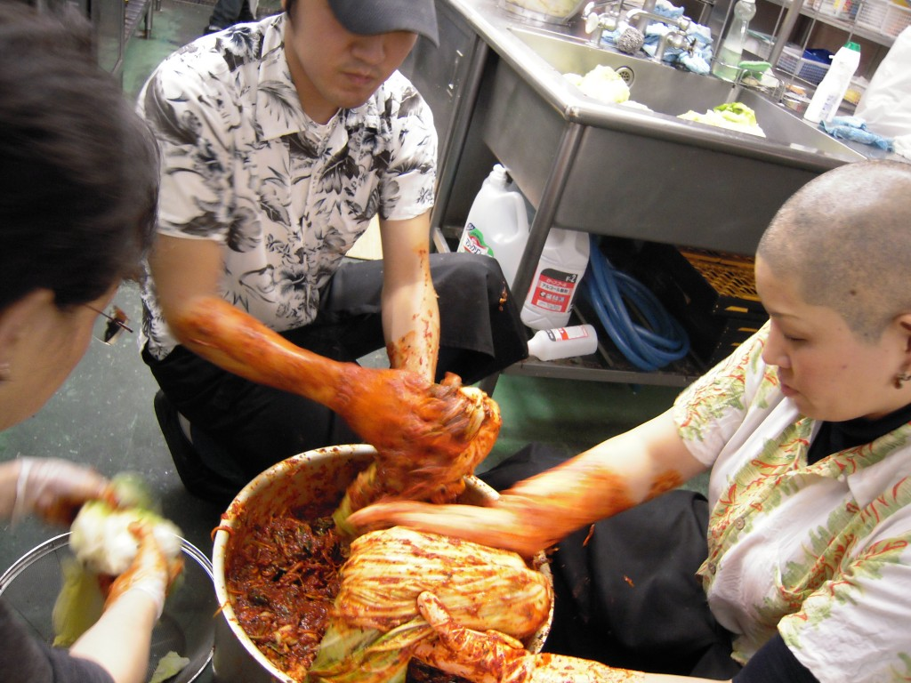 白菜をキムチ漬け